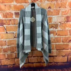 NWT KNOX ROSE Gray Long Open Cardigan Sweater